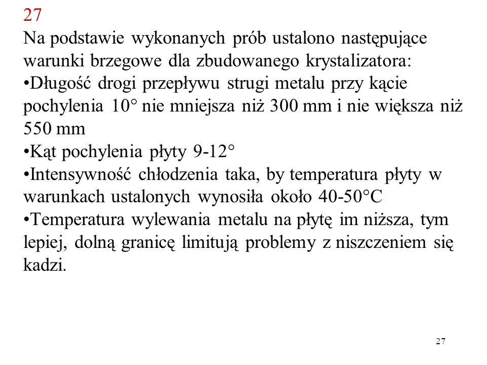 27 Na podstawie wykonanych prób ustalono następujące warunki brzegowe dla zbudowanego krystalizatora: