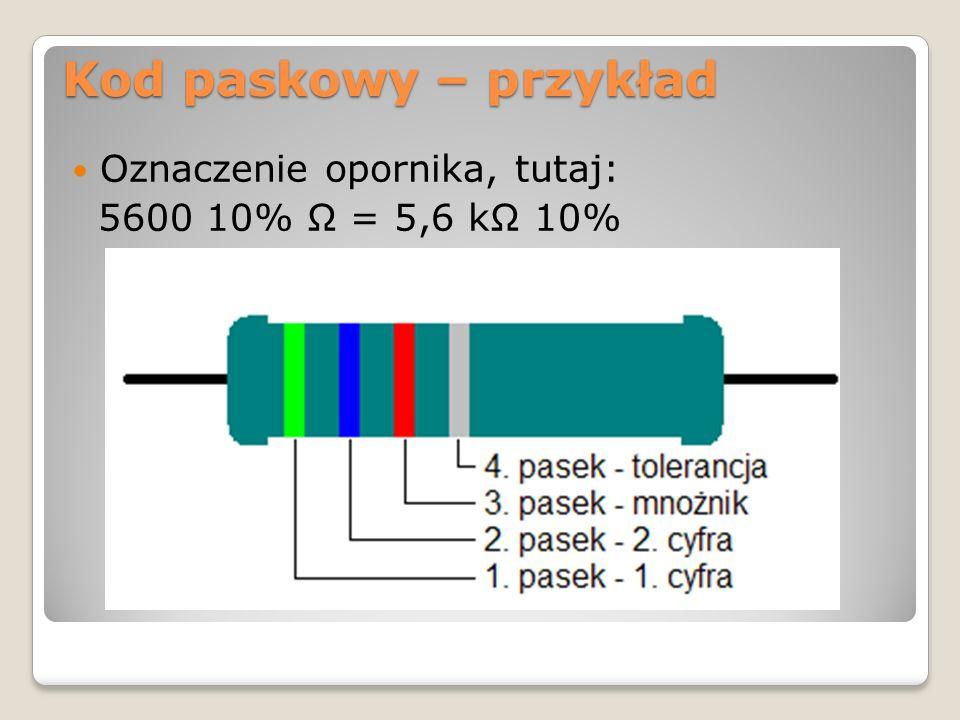 Kod paskowy – przykład Oznaczenie opornika, tutaj: