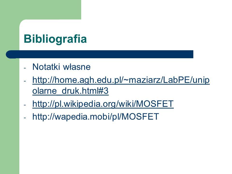 Bibliografia Notatki własne