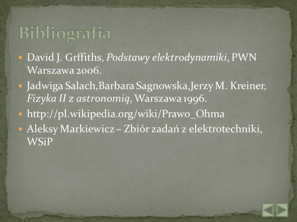 Bibliografia David J. Grffiths, Podstawy elektrodynamiki, PWN Warszawa 2006.