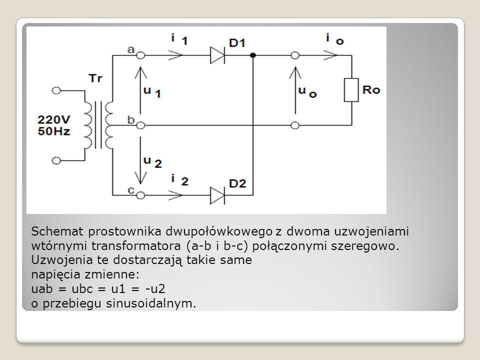 Schemat prostownika dwupołówkowego z dwoma uzwojeniami