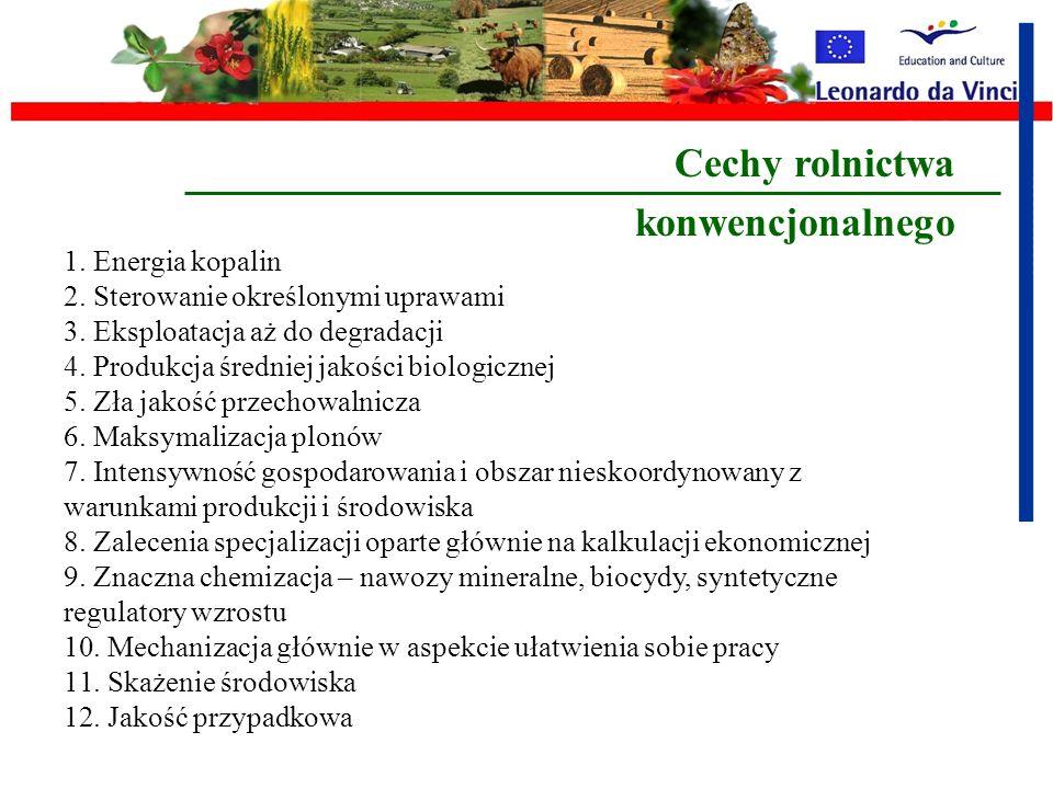 Cechy rolnictwa konwencjonalnego Energia kopalin