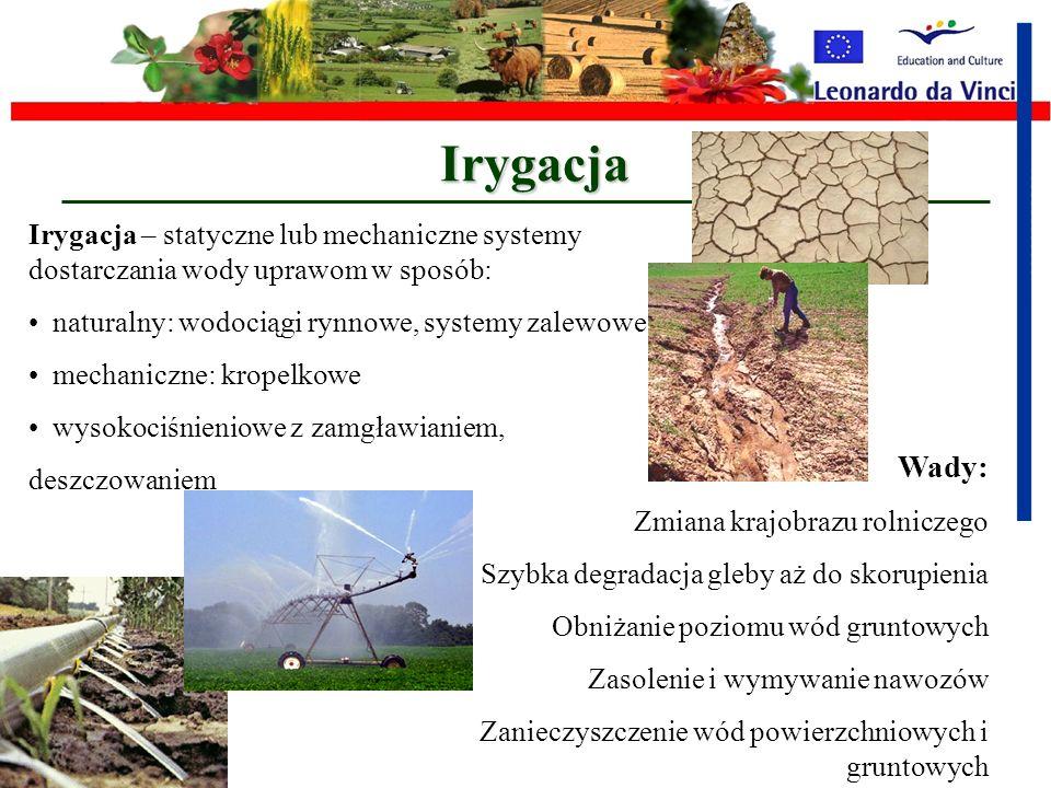 Irygacja Irygacja – statyczne lub mechaniczne systemy dostarczania wody uprawom w sposób: naturalny: wodociągi rynnowe, systemy zalewowe.