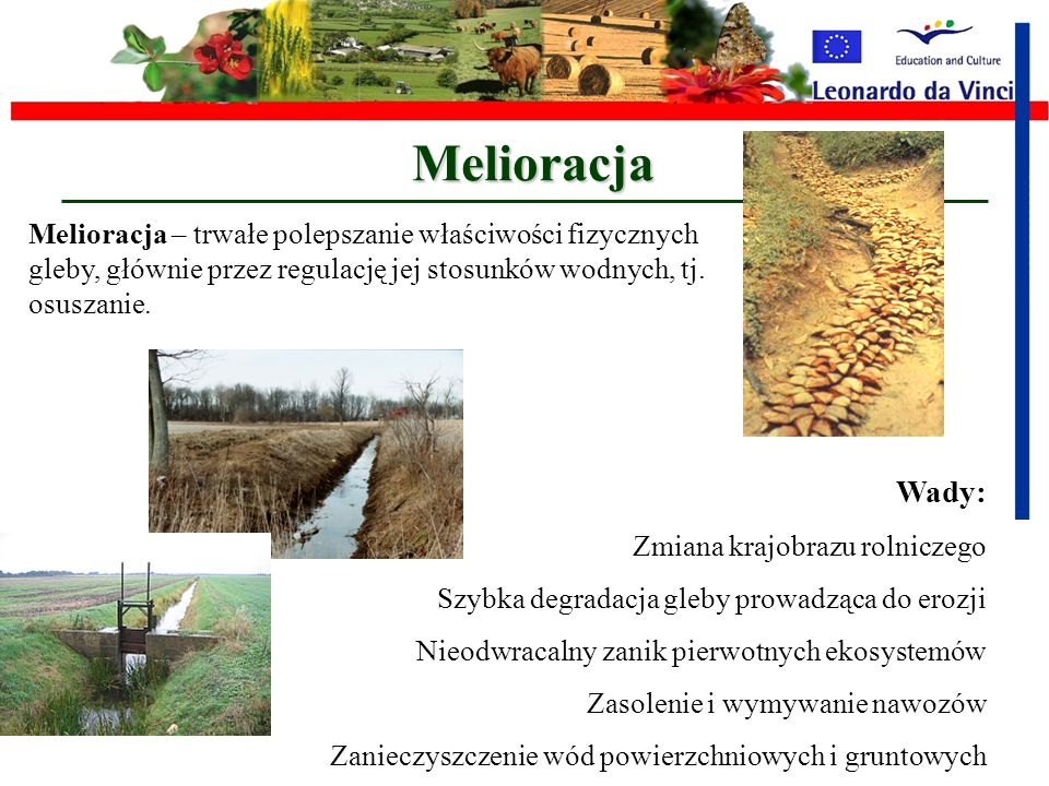 Melioracja Melioracja – trwałe polepszanie właściwości fizycznych gleby, głównie przez regulację jej stosunków wodnych, tj. osuszanie.