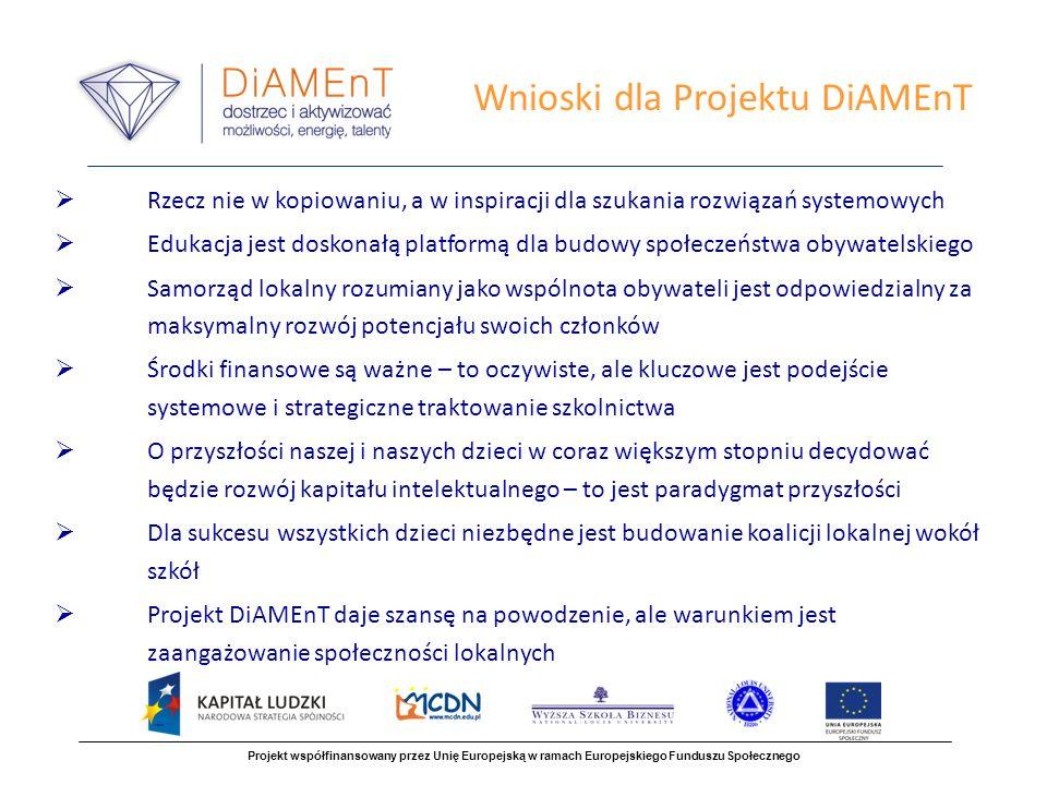 Wnioski dla Projektu DiAMEnT