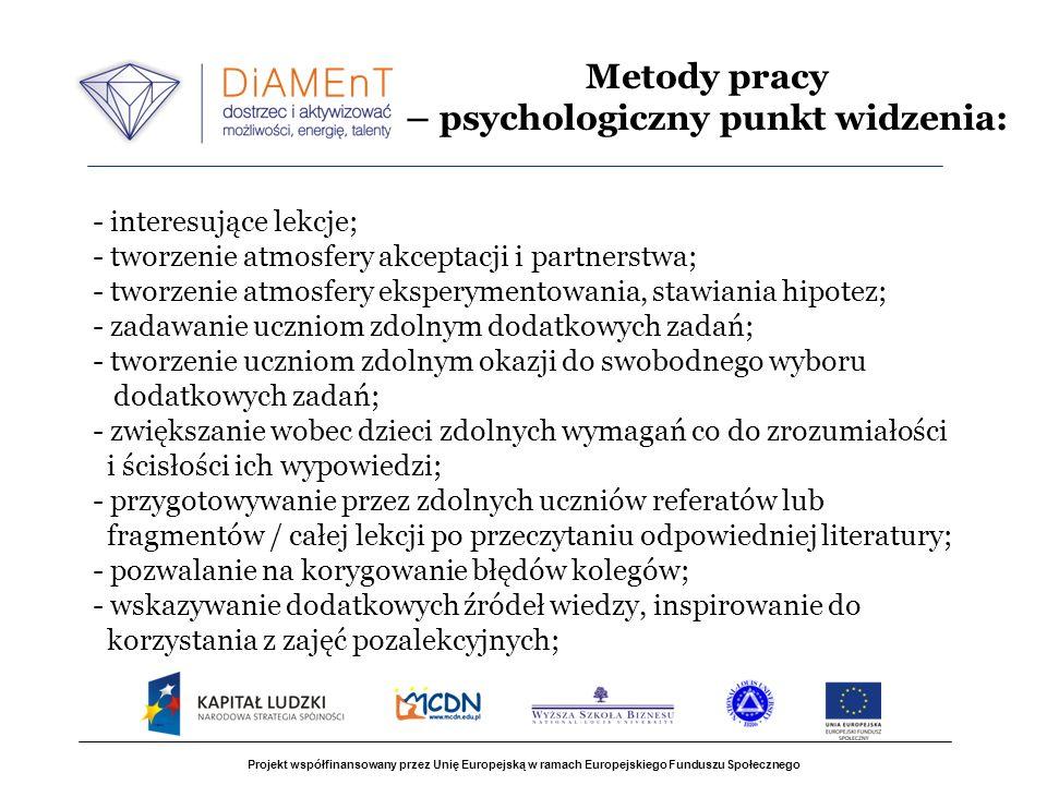 Metody pracy – psychologiczny punkt widzenia: