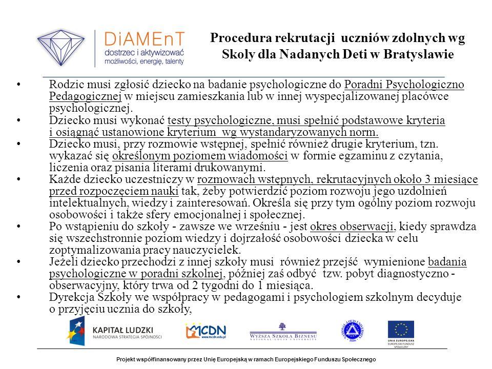 Procedura rekrutacji uczniów zdolnych wg Skoly dla Nadanych Deti w Bratyslawie