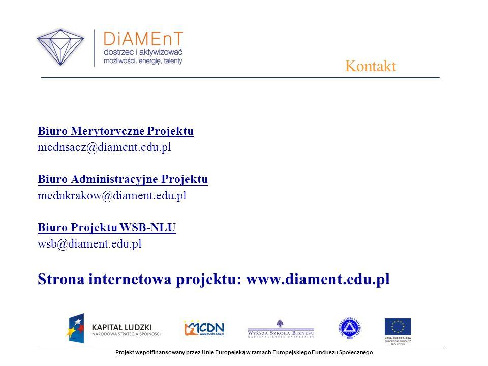 Strona internetowa projektu: www.diament.edu.pl