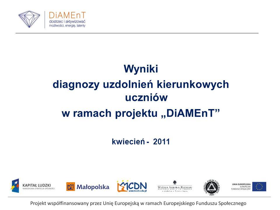 """diagnozy uzdolnień kierunkowych uczniów w ramach projektu """"DiAMEnT"""