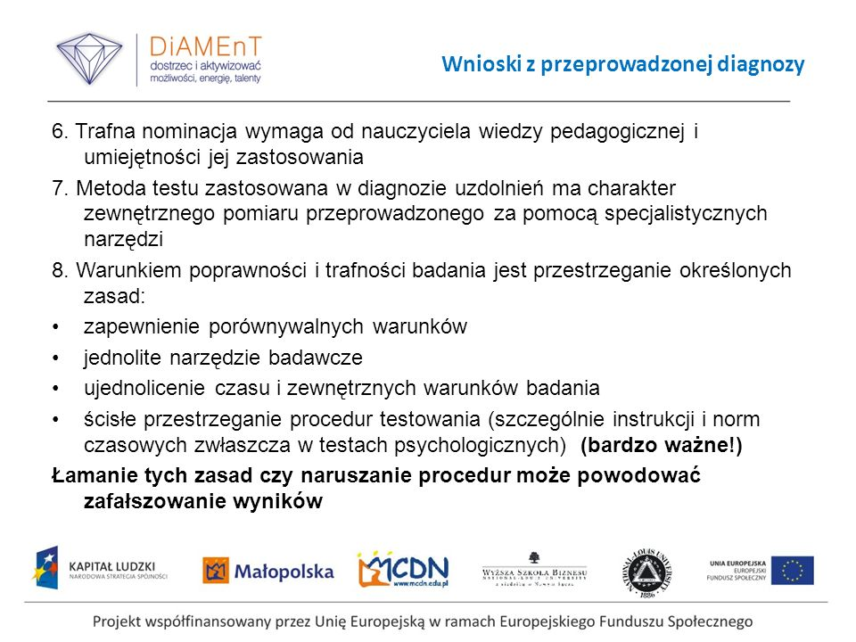 Wnioski z przeprowadzonej diagnozy