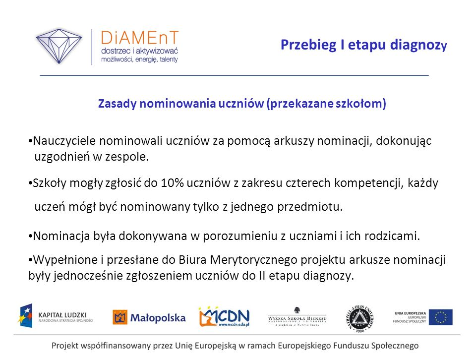 Przebieg I etapu diagnozy