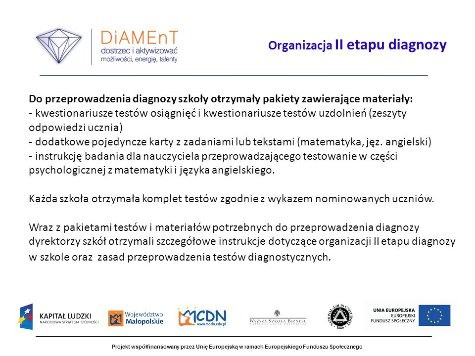 Organizacja II etapu diagnozy