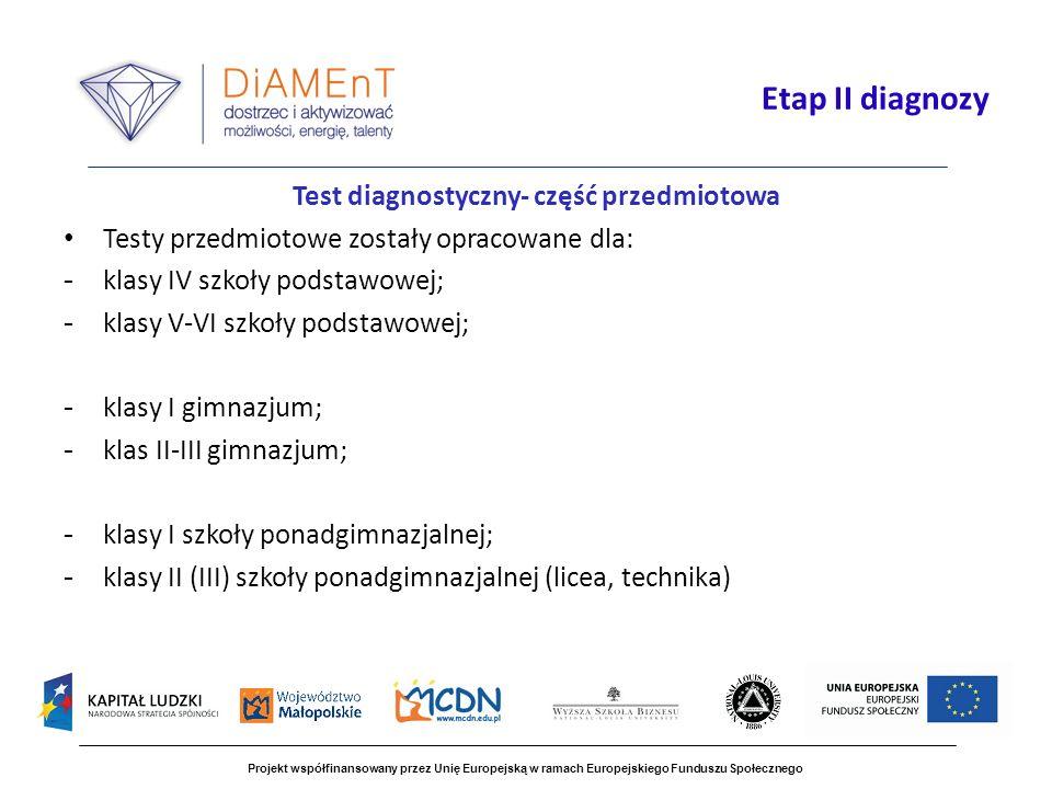 Test diagnostyczny- część przedmiotowa