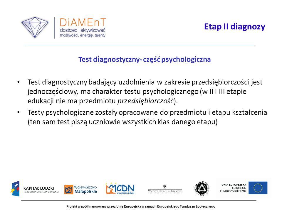 Test diagnostyczny- część psychologiczna