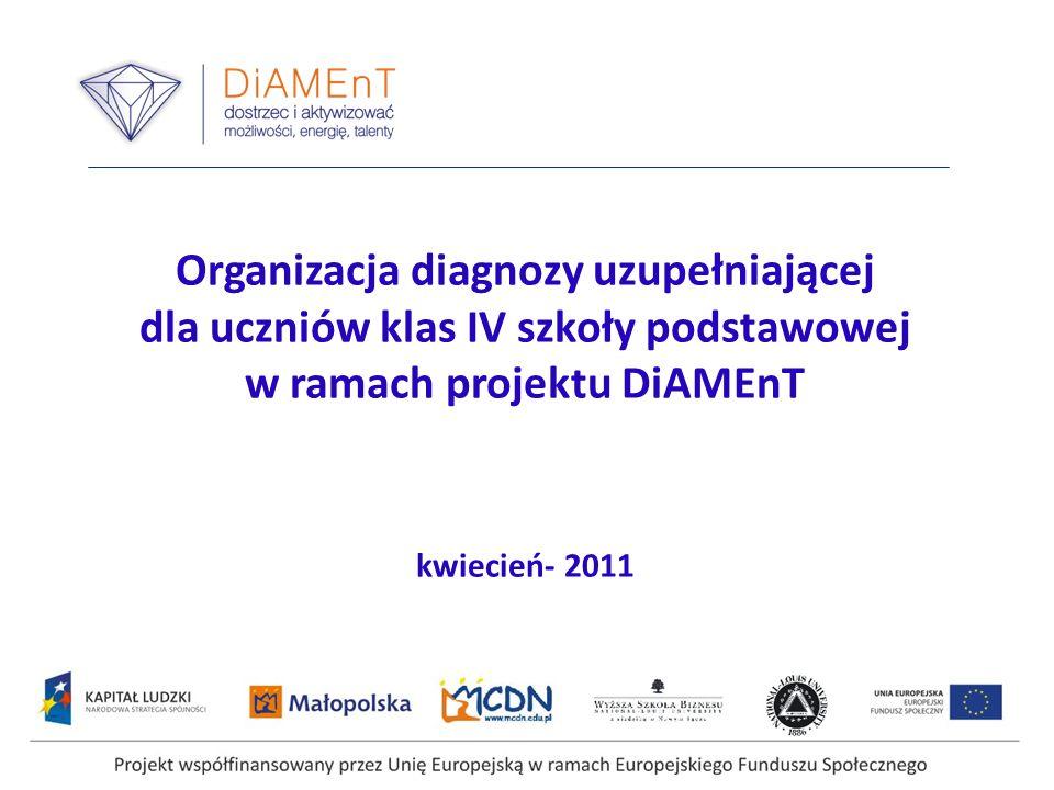 Organizacja diagnozy uzupełniającej dla uczniów klas IV szkoły podstawowej w ramach projektu DiAMEnT kwiecień- 2011