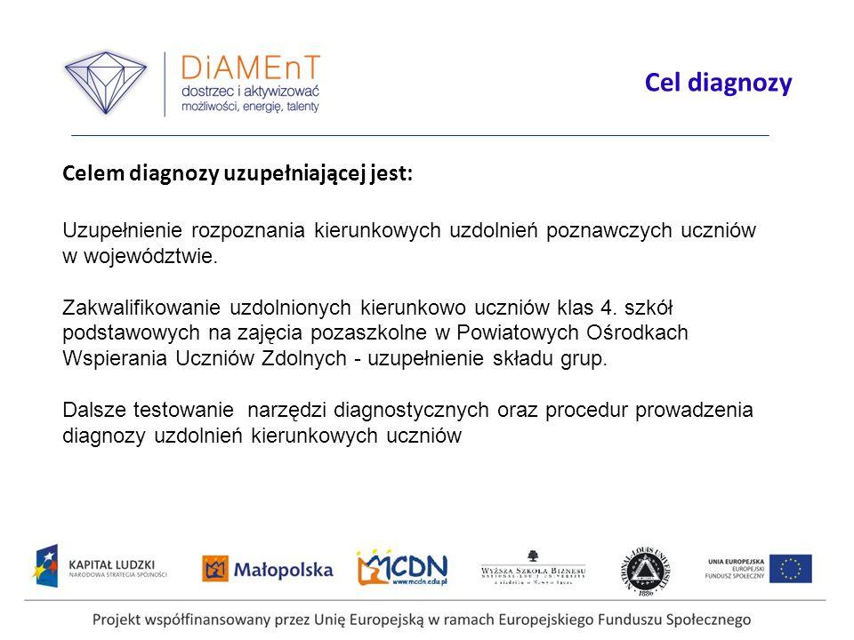 Cel diagnozy Celem diagnozy uzupełniającej jest: