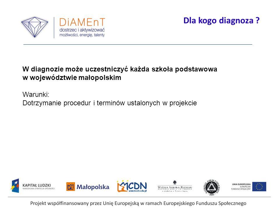 Dla kogo diagnoza W diagnozie może uczestniczyć każda szkoła podstawowa. w województwie małopolskim.