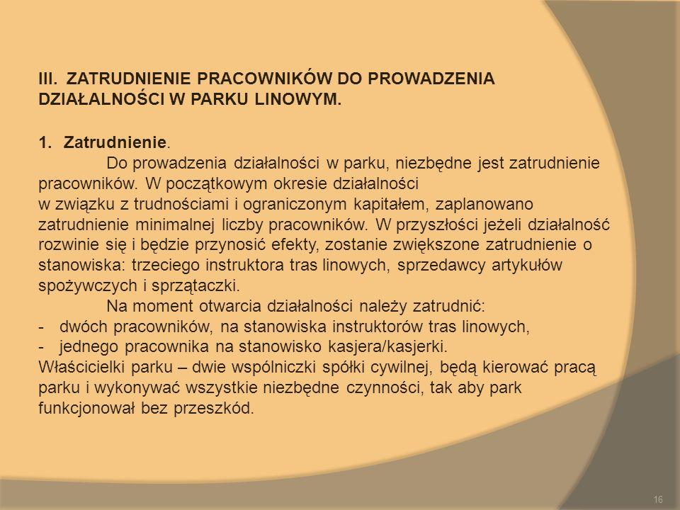 III. ZATRUDNIENIE PRACOWNIKÓW DO PROWADZENIA DZIAŁALNOŚCI W PARKU LINOWYM.