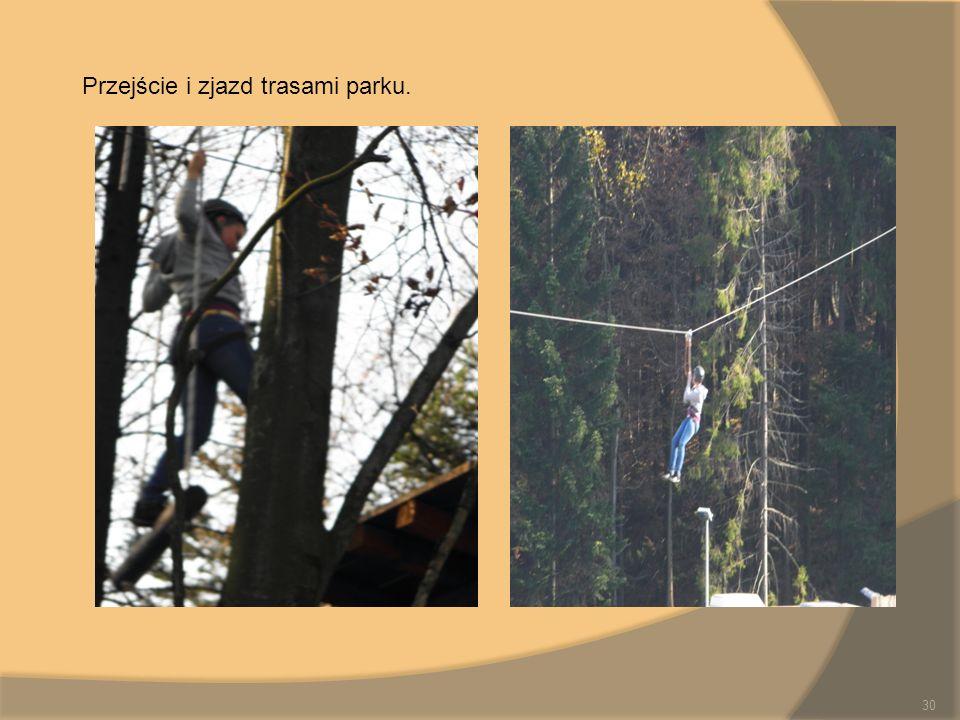 Przejście i zjazd trasami parku.