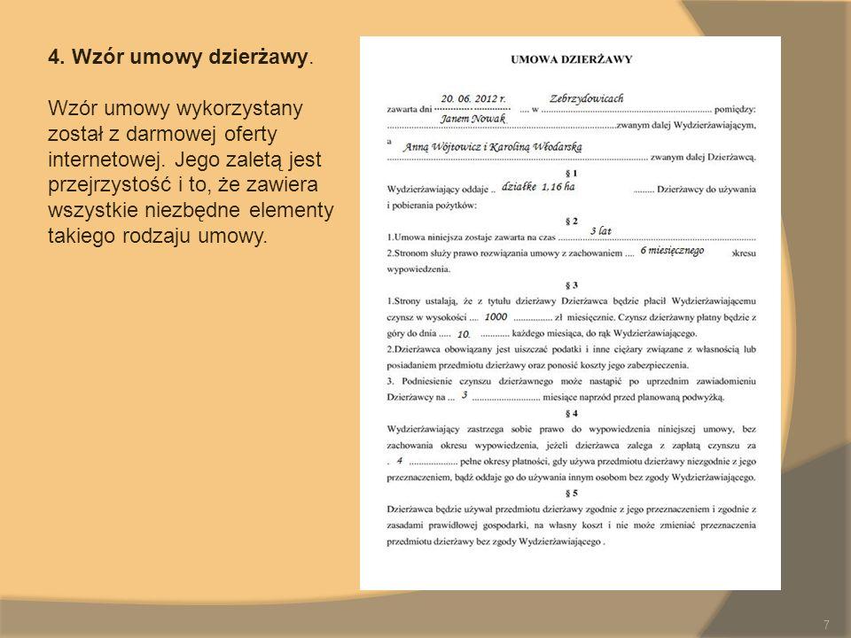 4. Wzór umowy dzierżawy.
