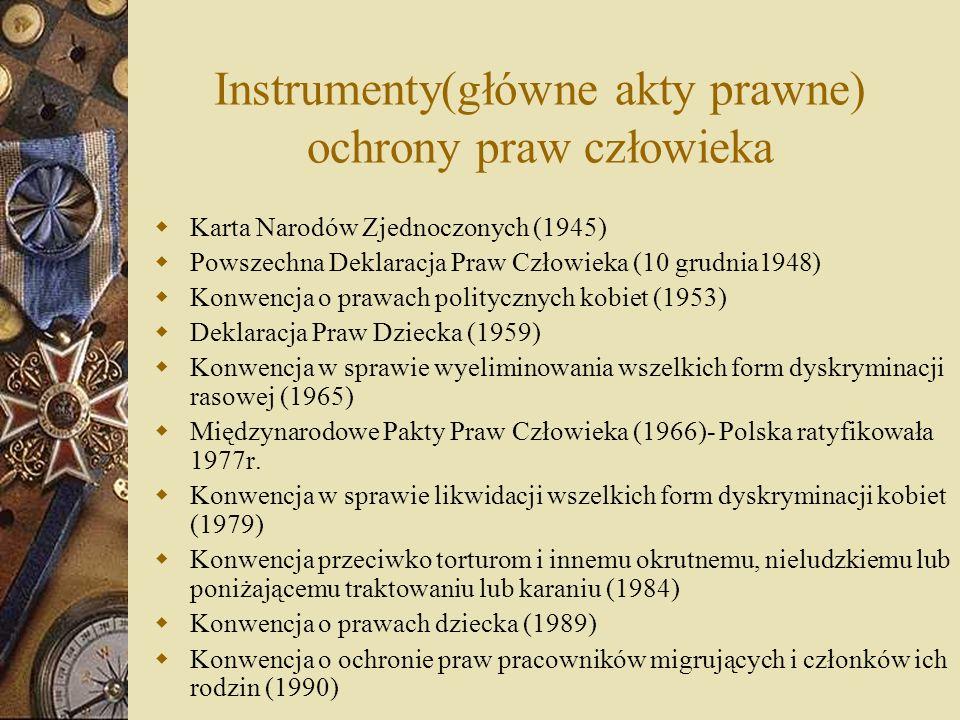 Instrumenty(główne akty prawne) ochrony praw człowieka