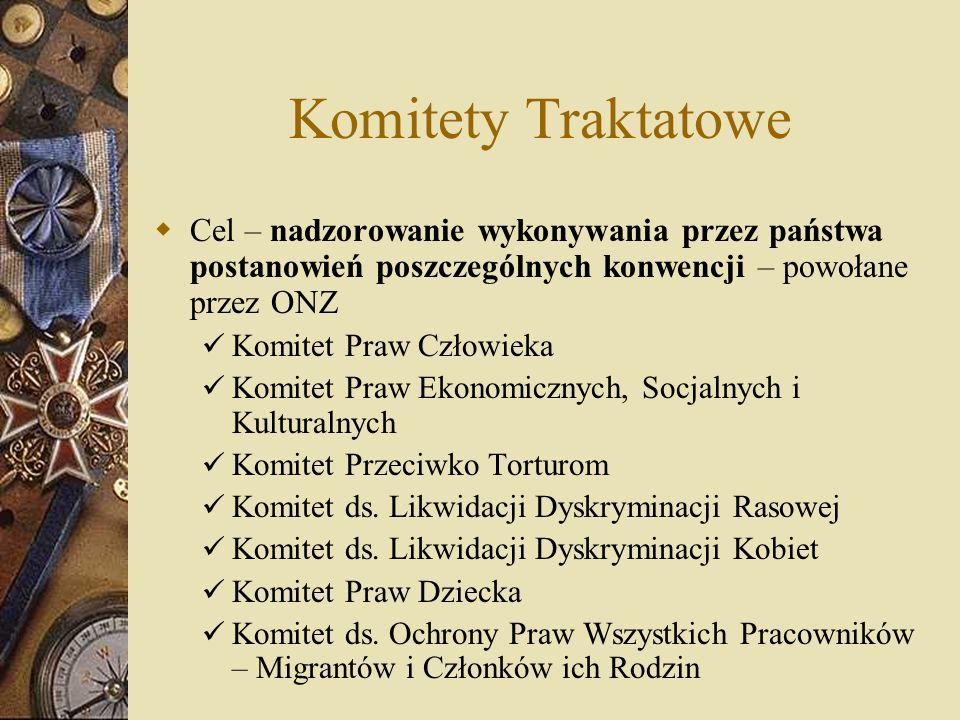 Komitety Traktatowe Cel – nadzorowanie wykonywania przez państwa postanowień poszczególnych konwencji – powołane przez ONZ.