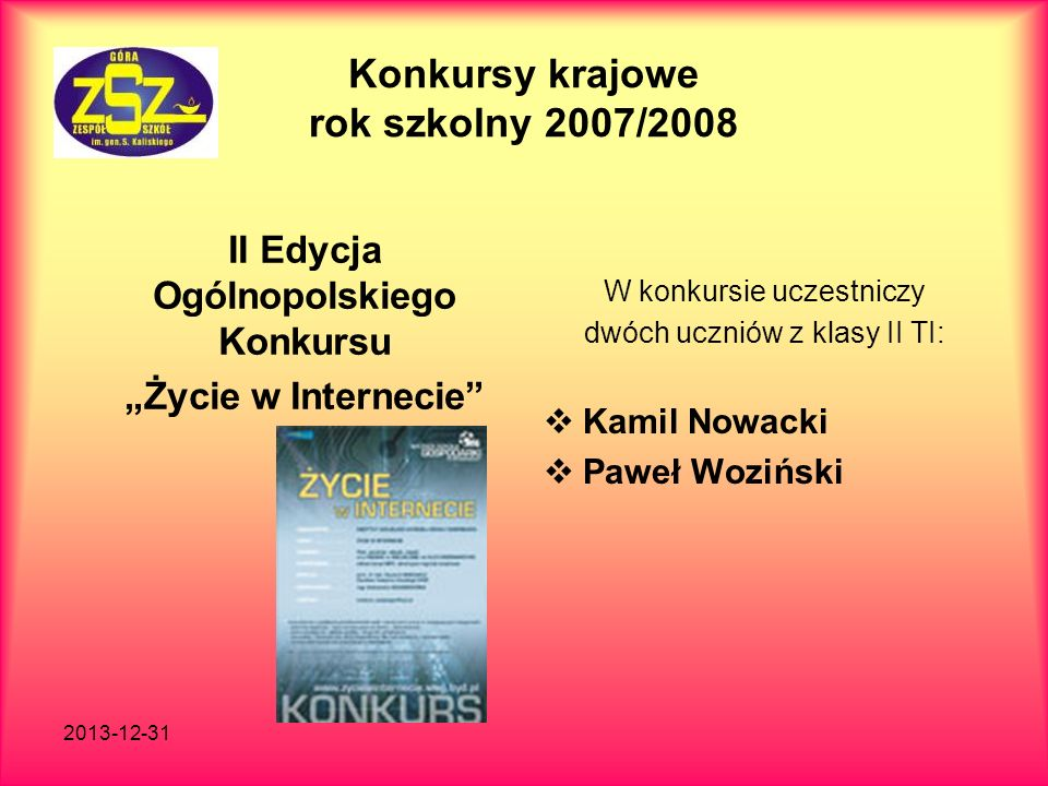 Konkursy krajowe rok szkolny 2007/2008