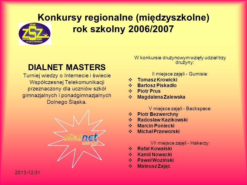 Konkursy regionalne (międzyszkolne) rok szkolny 2006/2007
