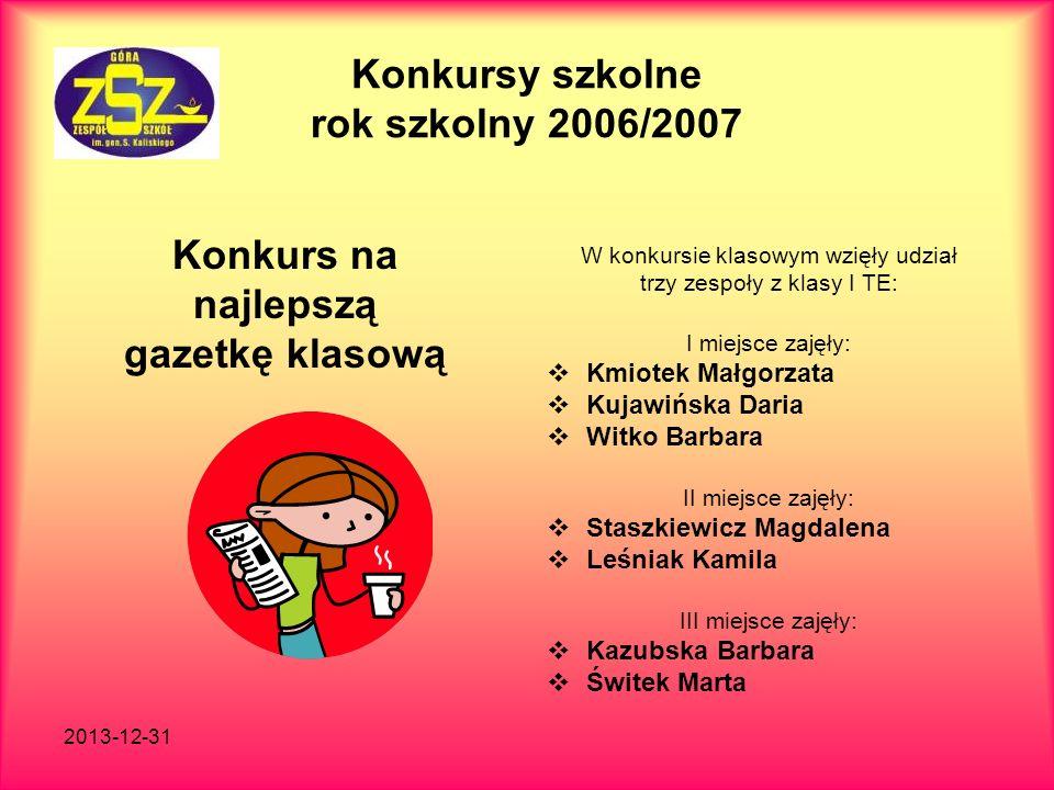 Konkursy szkolne rok szkolny 2006/2007