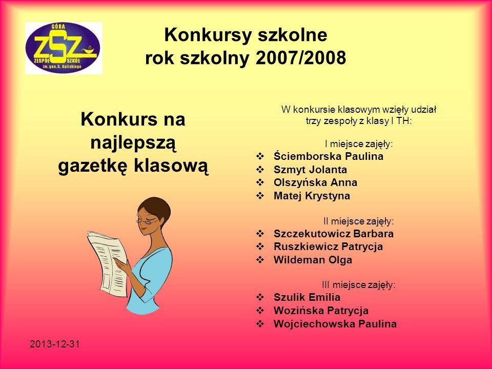 Konkursy szkolne rok szkolny 2007/2008