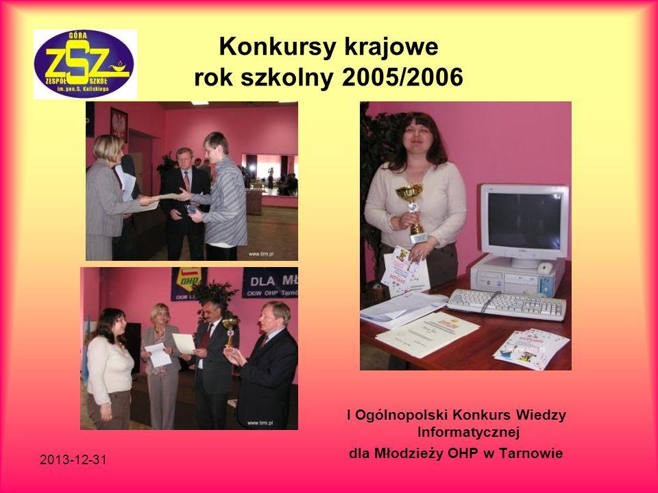 Konkursy krajowe rok szkolny 2005/2006