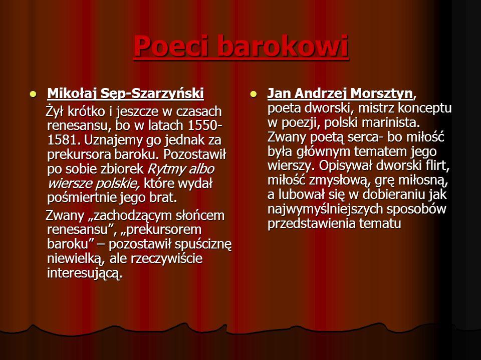Poeci barokowi Mikołaj Sęp-Szarzyński