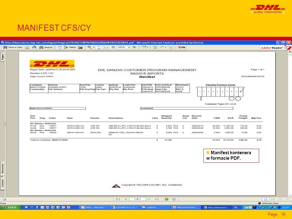 MANIFEST CFS/CY Manifest kontenera w formacie PDF.
