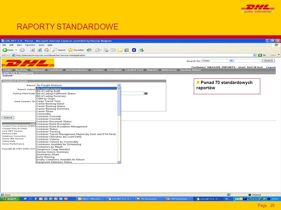 RAPORTY STANDARDOWE Ponad 70 standardowych raportów