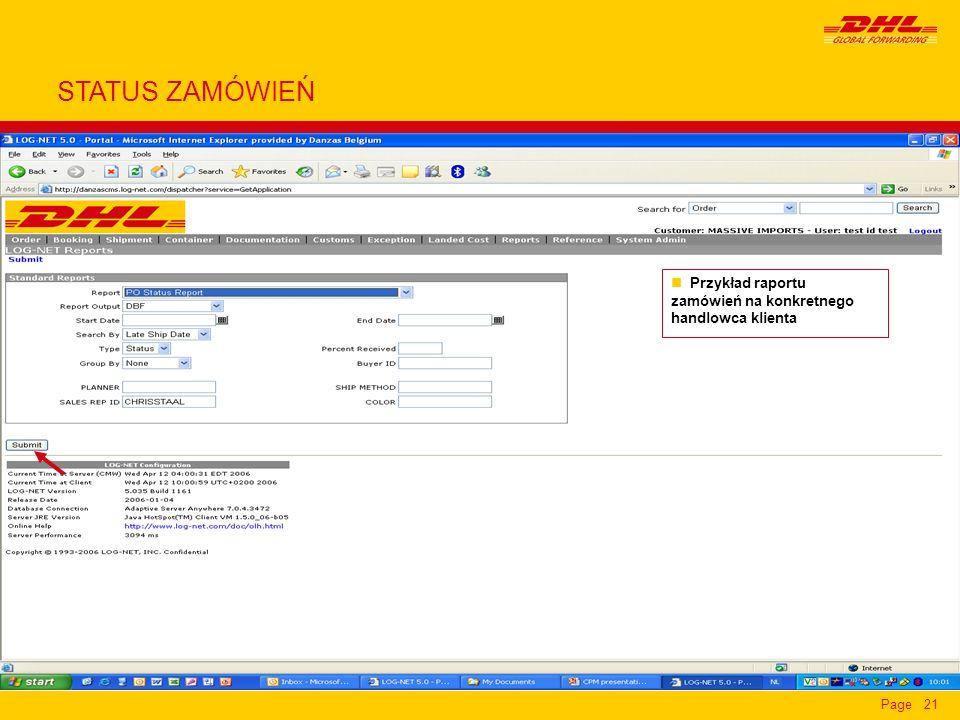 STATUS ZAMÓWIEŃ Przykład raportu zamówień na konkretnego handlowca klienta