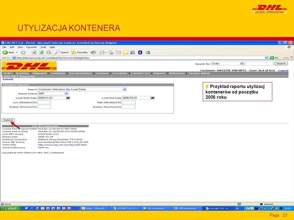 UTYLIZACJA KONTENERA Przykład raportu utylizacj kontenerów od początku 2006 roku