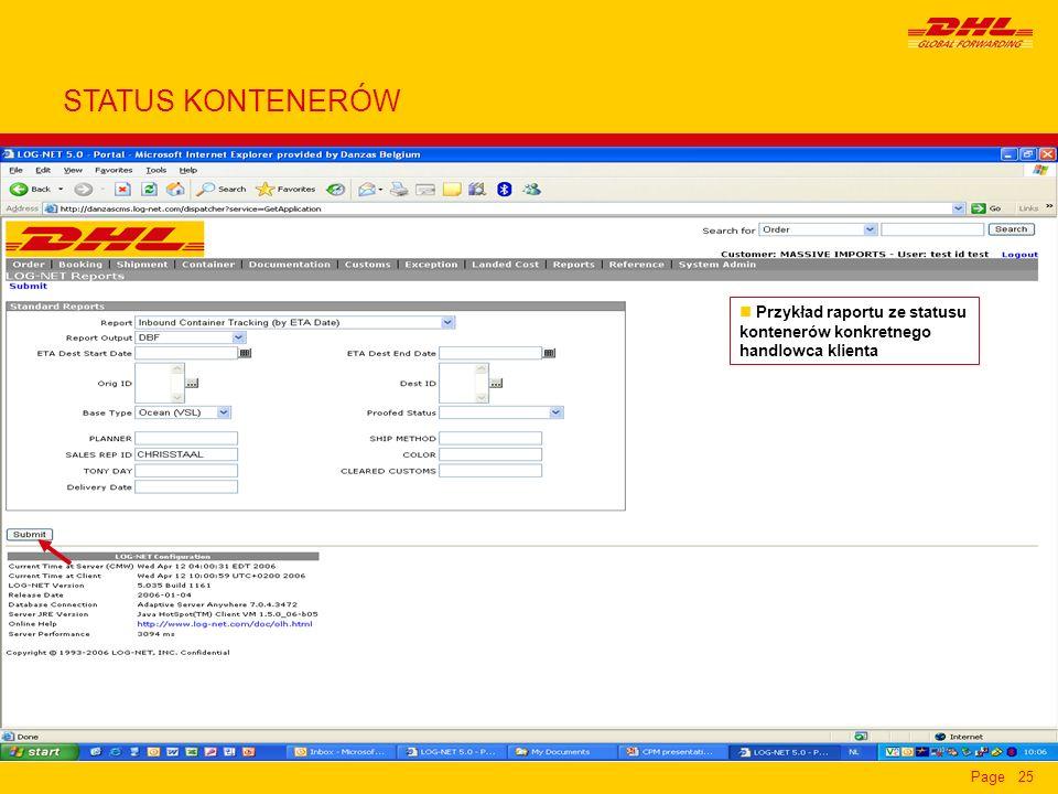 STATUS KONTENERÓW Przykład raportu ze statusu kontenerów konkretnego handlowca klienta