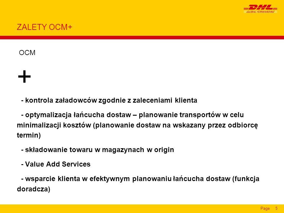 + ZALETY OCM+ OCM - kontrola załadowców zgodnie z zaleceniami klienta