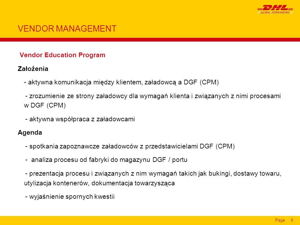 VENDOR MANAGEMENT Vendor Education Program Założenia