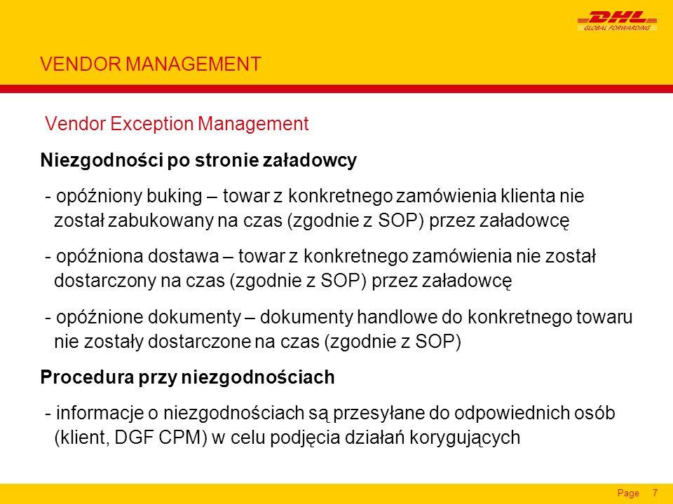 VENDOR MANAGEMENT Vendor Exception Management. Niezgodności po stronie załadowcy.