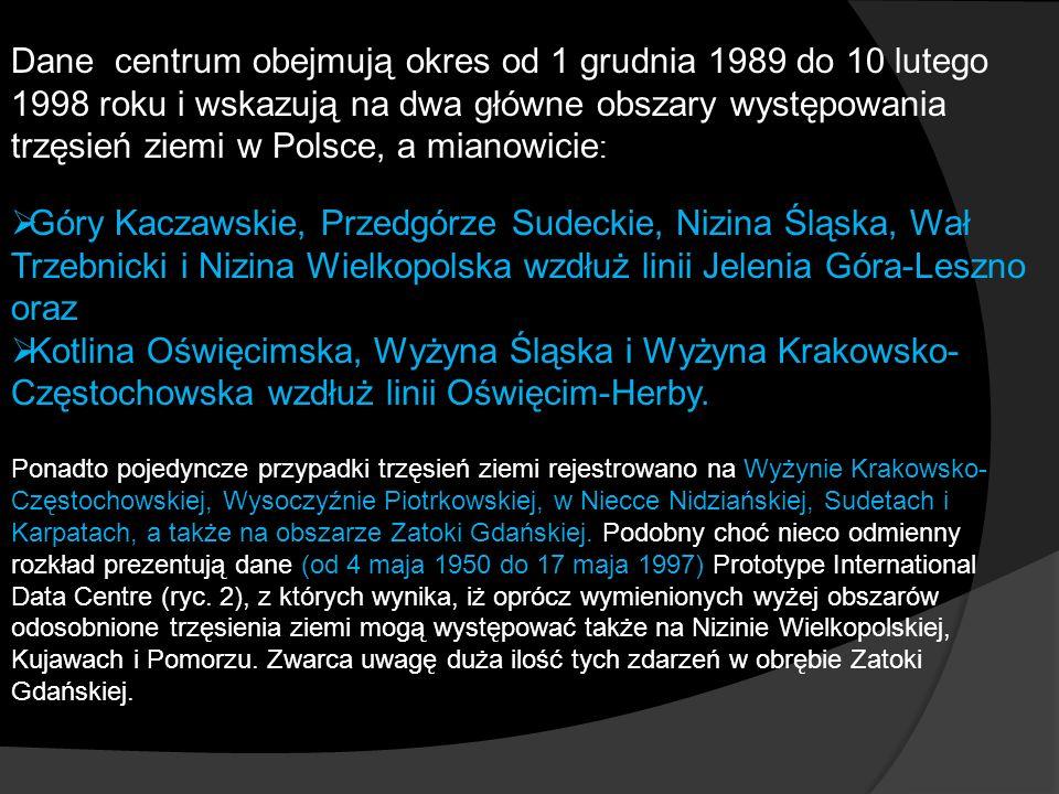 Dane centrum obejmują okres od 1 grudnia 1989 do 10 lutego 1998 roku i wskazują na dwa główne obszary występowania trzęsień ziemi w Polsce, a mianowicie: