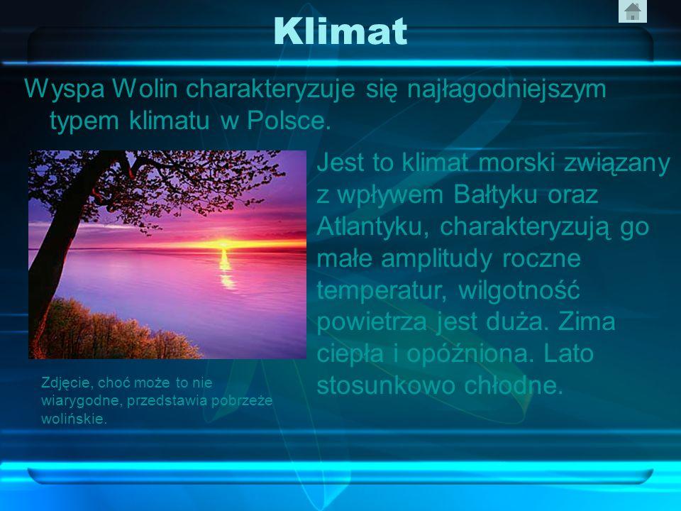 Klimat Wyspa Wolin charakteryzuje się najłagodniejszym typem klimatu w Polsce.