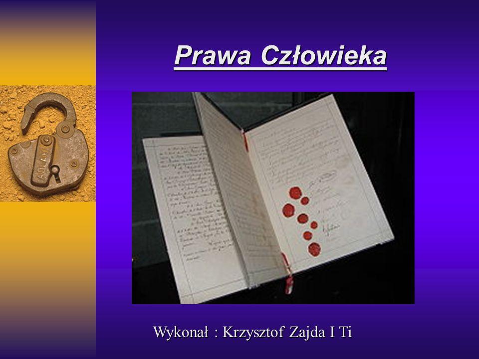 Prawa Człowieka Wykonał : Krzysztof Zajda I Ti