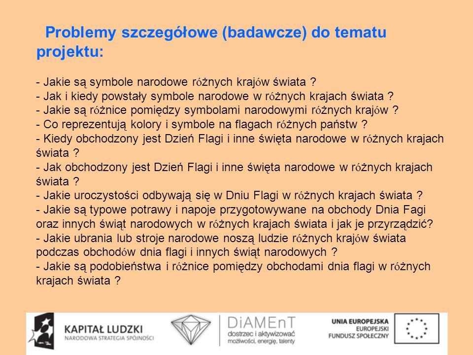 Problemy szczegółowe (badawcze) do tematu projektu: