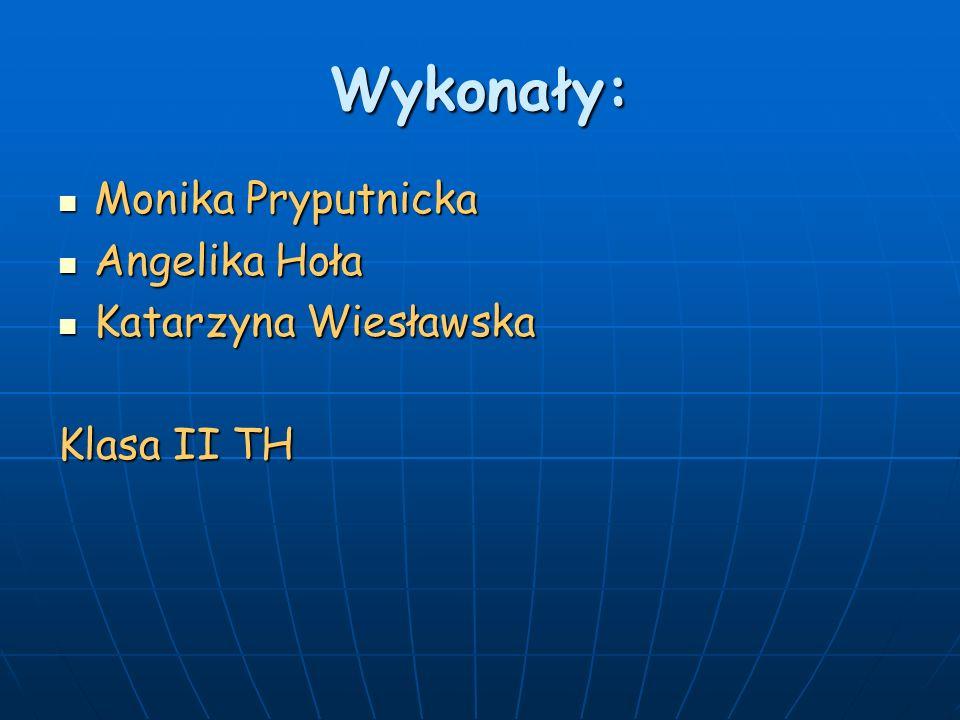 Wykonały: Monika Pryputnicka Angelika Hoła Katarzyna Wiesławska
