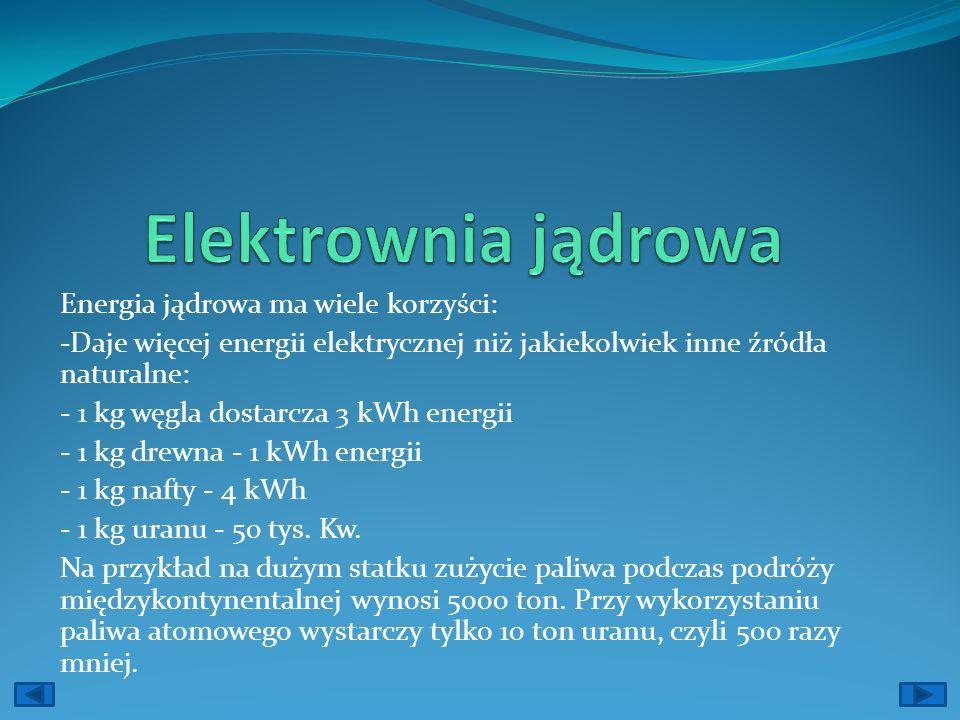 Elektrownia jądrowa Energia jądrowa ma wiele korzyści: