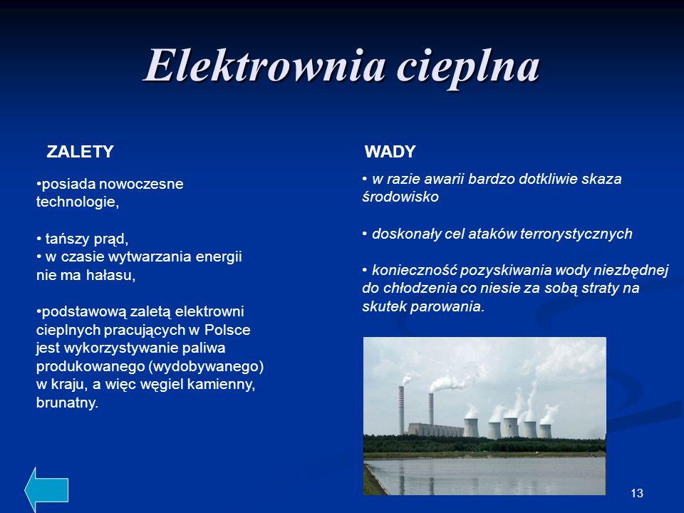 Elektrownia cieplna ZALETY WADY