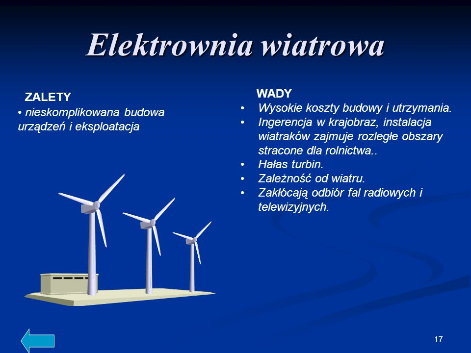 Elektrownia wiatrowa WADY ZALETY Wysokie koszty budowy i utrzymania.