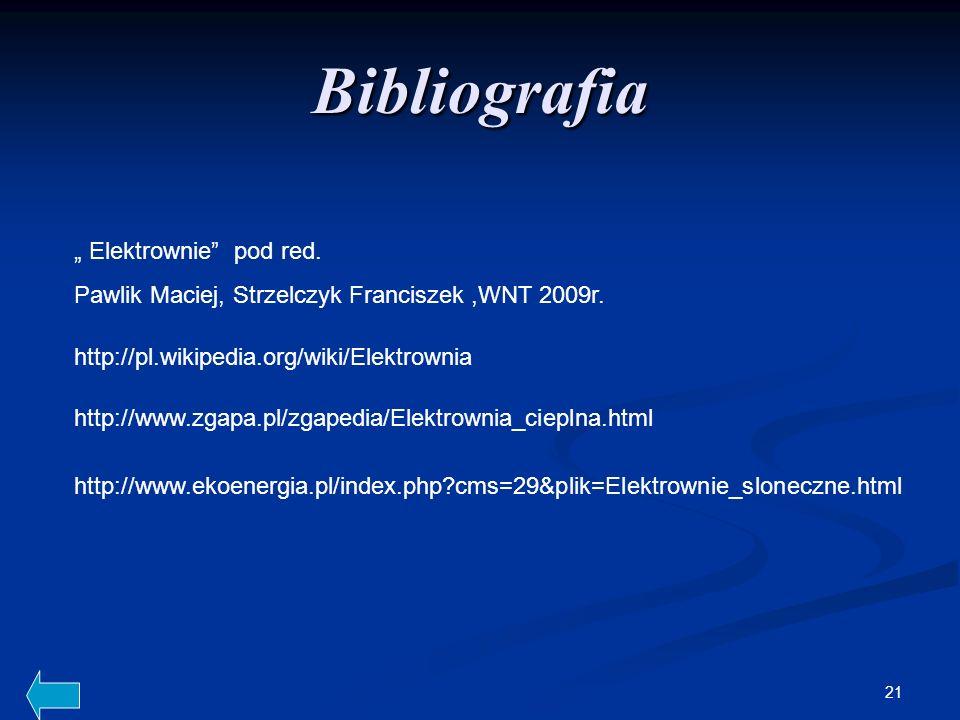 "Bibliografia "" Elektrownie pod red."