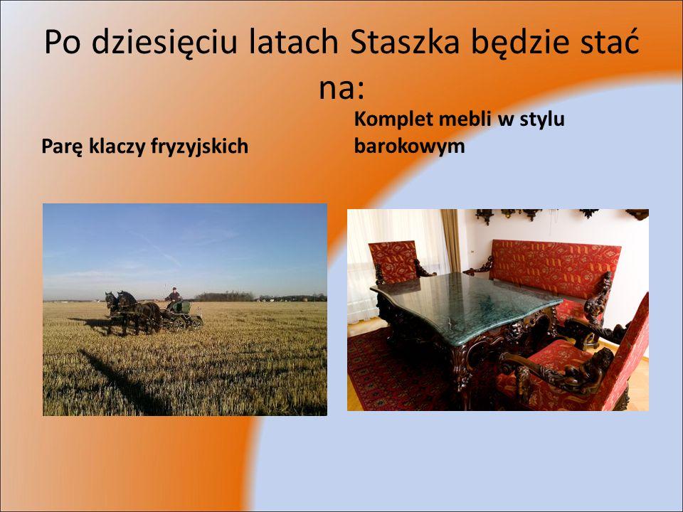 Po dziesięciu latach Staszka będzie stać na: